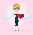 gorgeous young woman as cupid angel with white vector image vector image
