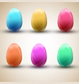 happy easter egg icons set vector image
