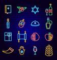 happy hanukkah holiday neon icons vector image vector image