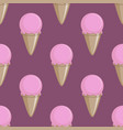 ice cream cone seamless pink lilac pattern vector image