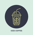 line icon of iced coffee cocktail in vector image
