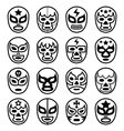 Lucha Libre Mexican wrestling masks - line icons vector image vector image