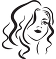 monochromatic face of beautiful woman vector image vector image