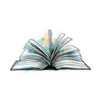 open book from a splash watercolor hand drawn vector image vector image