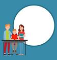 parents help boy do homework vector image