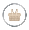 Picnic basket icon in cartoon style isolated on vector image