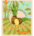 Pineapple retro poster vector image vector image