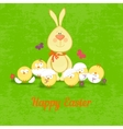 rabbit with funny chickenseaster vector image vector image