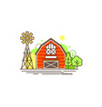 red farm building flat vector image