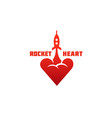 rocket heart logo vector image