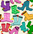 Seamless pattern of gumboots vector image vector image