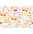 seamless pattern with different food vector image vector image