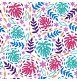 seamless pattern with tropical leaves on a white vector image