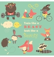 Set of cartoon animals working out vector image vector image
