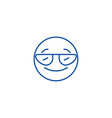 smiling emoji with sunglasses line icon concept vector image vector image