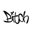 sprayed bitch font graffiti with overspray in vector image vector image