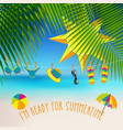 summer themed background with palm leaves and vector image vector image
