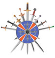 swords cross crosswise and shields vector image