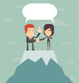 two businessmen shaking hands to seal an agreement vector image vector image