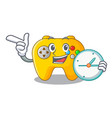 with clock video game controller shaped on vector image