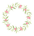 wreath with grass and flowers vector image vector image