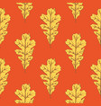 yellow oak leaf seamless pattern vector image vector image