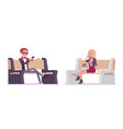 young man and woman sitting on bench vector image