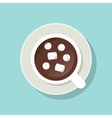 Cup of cacao with marshmallows and ground cinnamon vector image