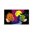 Halloween Mask Jack-O-Lantern Witch Retro vector image