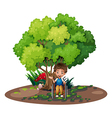 A boy with a wheelchair near the tree vector image vector image