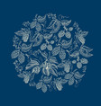 abstract natural round wreath blue background vector image vector image