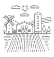 agriculture farm with fields thin line concept vector image vector image