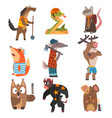 animals different professions set horse snake vector image vector image