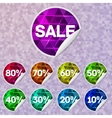 Bright sale stickers with triangle lighting inside vector image