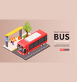 bus stop isometric banner vector image vector image