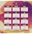 Calendar with watercolor paint 2015 design vector image