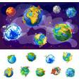 cartoon earth globes concept vector image vector image