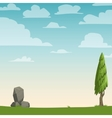 Cartoon nature background with a tree vector image vector image
