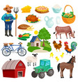 collection of rural decorative cartoon icons vector image