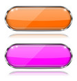colored oval glass 3d buttons with metal frames vector image vector image