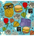 Colorful seamless pattern with hipster owls and vector image vector image