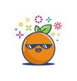 cool orange kawaii emoticon cartoon vector image vector image