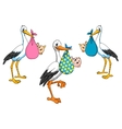 Cute cartoon storks carrying babies vector image vector image