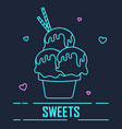 cute neon linear design dessert vector image