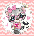 cute raccoon girl in pink eyeglasses vector image vector image