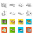 design facade and housing icon set of vector image vector image