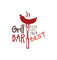 greel bar food since 1969 logo template hand vector image vector image
