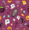 halloween elements seamless pattern vector image
