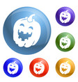 halloween pumkin icons set vector image