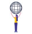 hand holding world globe social media vector image vector image